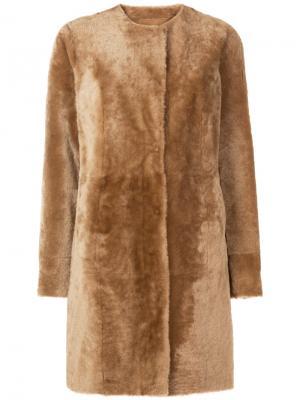 Фактурное однобортное пальто Drome. Цвет: коричневый