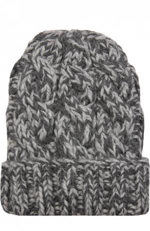 Вязаная шапка из шерсти Eugenia Kim. Цвет: темно-серый