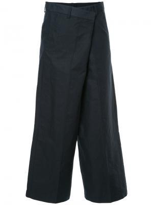 Укороченные широкие брюки 08Sircus. Цвет: синий