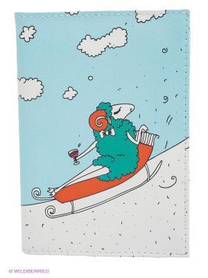 Обложка для автодокументов Овечка на саночках Mitya Veselkov. Цвет: белый, зеленый, голубой, красный
