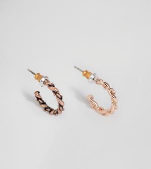 ASOS Серьги-кольца с фактурной отделкой под розовое золото и медь. Цвет: мульти
