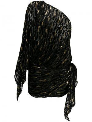 Платье на одно плечо с блестящей отделкой Alexandre Vauthier. Цвет: чёрный
