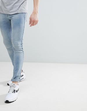 ASOS Голубые джинсы скинни с контрастной отделкой DESIGN. Цвет: синий