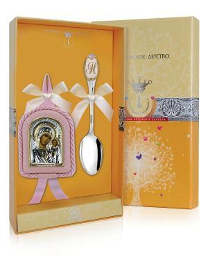 Набор Казанская Божья матерь (икона+ложка частично позолоченная с логотипом Н) розовый  + футляр АргентА. Цвет: серебристый, розовый