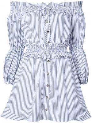 Полосатое платье с открытыми плечами Caroline Constas. Цвет: белый