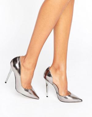 Office Зеркальные туфли-лодочки оловянного цвета Shadow. Цвет: серебряный