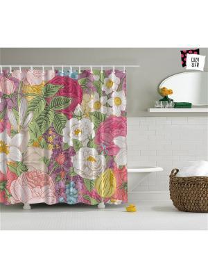 Фотоштора для ванной Пастельные цветы, 180*200 см Magic Lady. Цвет: розовый, желтый, зеленый, фиолетовый, бежевый