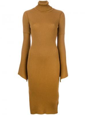 Fitted bell sleeve dress Dondup. Цвет: коричневый