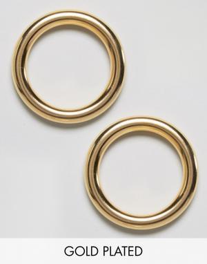 Gogo Philip Позолоченные серьги-кольца. Цвет: золотой