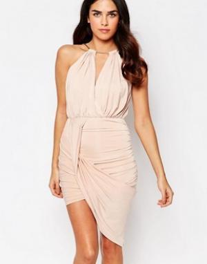 Girl In Mind Асимметричное платье с цепочкой на горловине Alexis. Цвет: бежевый