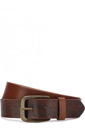 Кожаный ремень с металлической пряжкой Baldessarini. Цвет: светло-бежевый
