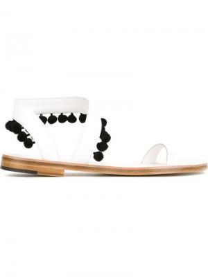 Сандалии с элементами помпонов Angela Alvaro Gonzalez. Цвет: белый