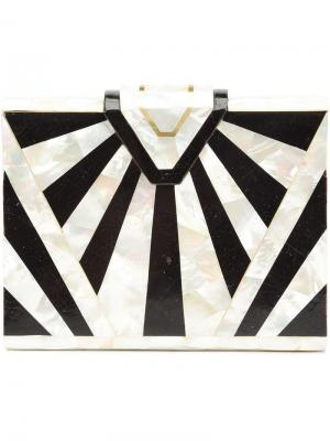 Клатч в стиле ар-деко с геометрическим узором Nathalie Trad. Цвет: чёрный