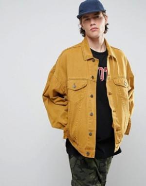 ASOS Желтая свободная джинсовая куртка в винтажном стиле. Цвет: желтый