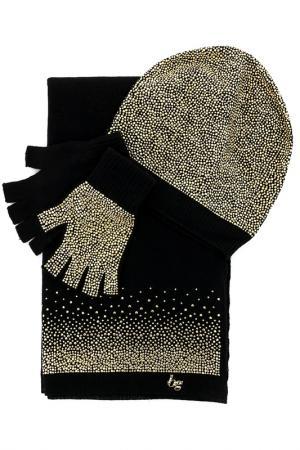 Комплект: шапка, перчатки и шарф Blugirl. Цвет: золотой