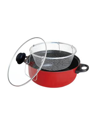 Кастрюля-фритюрница с термо-крышкой (фритюр/пар) D 26 см BAYERHOFF. Цвет: красный