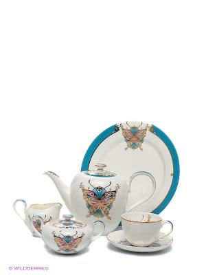 Чайный сервиз Песня Мотылька Pavone. Цвет: белый, голубой