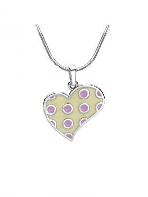 Подвеска Сердце в горошек KU&KU. Цвет: светло-бежевый, кремовый, молочный