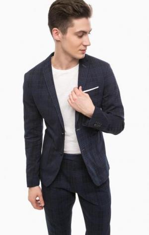 Темно-синий хлопковый пиджак в клетку Cinque. Цвет: синий