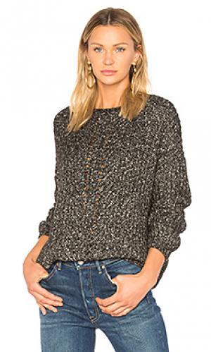 Меланжевый свитер yori CHARLI. Цвет: черный