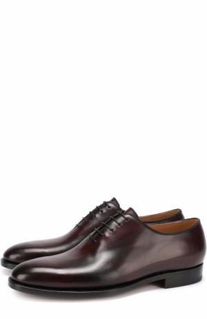 Классические кожаные оксфорды Kiton. Цвет: бордовый