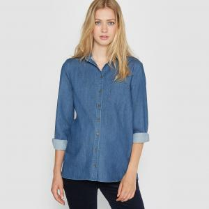 Блузка из легкого денима для периода беременности R essentiel. Цвет: деним