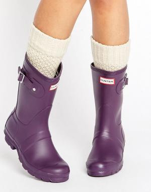 Hunter Короткие резиновые сапоги Original. Цвет: фиолетовый