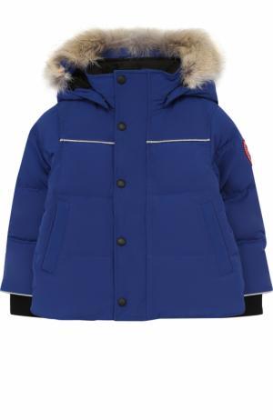 Пуховая куртка Snowy Owl с меховой отделкой на капюшоне Canada Goose. Цвет: синий
