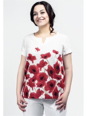 Блузка La rouge. Цвет: красный, белый