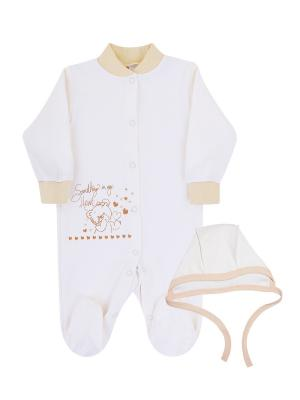 Комплект одежды: комбинезон, чепчик Коллекция Медвежата КОТМАРКОТ. Цвет: бежевый