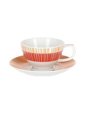 Набор 6 чайных пар 270 мл Страйп Маниа красный Royal Porcelain. Цвет: молочный