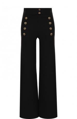 Расклешенные шерстяные брюки с контрастными пуговицами Chloé. Цвет: черный