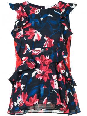 Блузка с рюшами и цветочным принтом Tanya Taylor. Цвет: синий