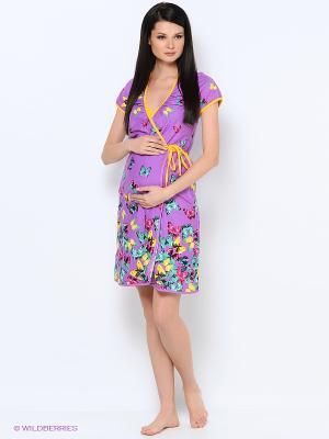 Комплект халат+сорочка Alena Alenkina. Цвет: сиреневый