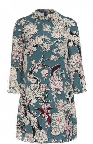 Шелковое мини-платье с цветочным принтом и укороченным рукавом Valentino. Цвет: бирюзовый