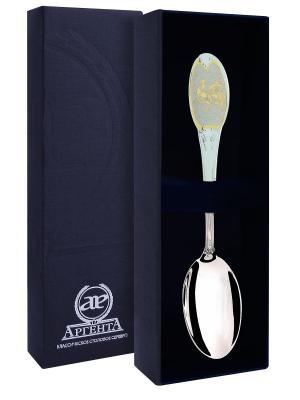 Ложка чайная частично позолоченная с логотипом Год петуха+футляр АргентА. Цвет: золотистый, серебристый