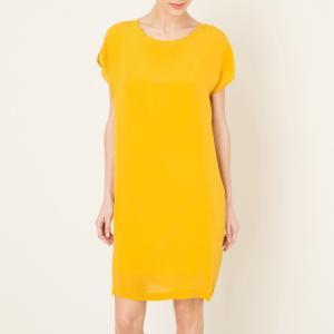 Платье шелковое POMANDERE. Цвет: горчичный