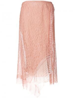 Кружевная юбка миди с вышивкой 3.1 Phillip Lim. Цвет: розовый и фиолетовый