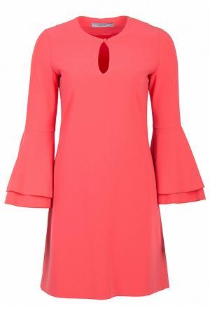 Прямое платье с рукавом-клеш D.Exterior. Цвет: коралловый