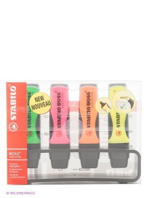 Набор маркеров Stabilo. Цвет: желтый, зеленый, оранжевый, розовый