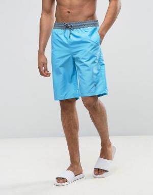 Wetts Пляжные шорты с контрастным поясом. Цвет: синий