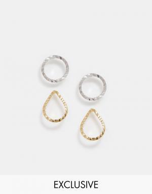 DesignB London Комплект серег-гвоздиков разных форм. Цвет: золотой