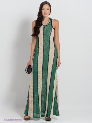 Платье BSB. Цвет: зеленый, бежевый