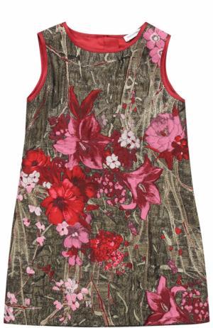 Мини-платье А-силуэта с металлизированной отделкой и вышивкой Dolce & Gabbana. Цвет: бронзовый