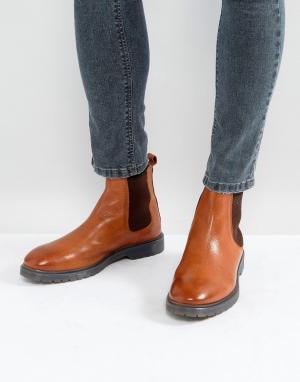 ASOS Светло-коричневые кожаные ботинки челси на ребристой подошве. Цвет: рыжий