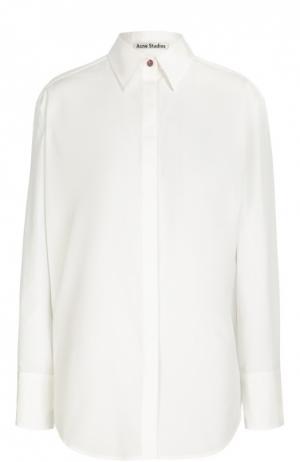 Хлопковая блуза прямого кроя Acne Studios. Цвет: белый