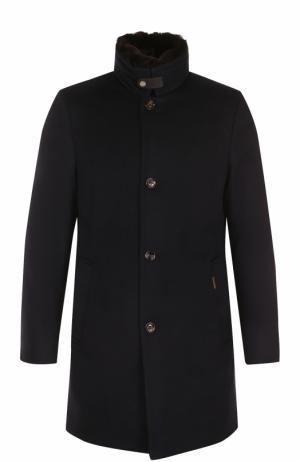Шерстяное пуховое пальто с меховой отделкой воротника Moorer. Цвет: темно-синий