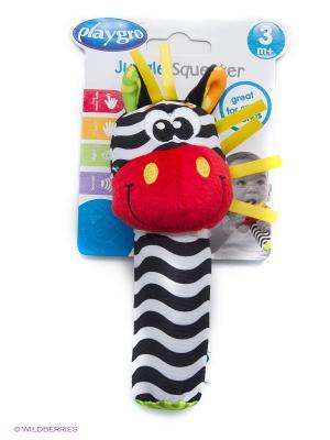 Playgro игрушка-пищалка Зебра 0183439. Цвет: красный, белый, желтый, оранжевый, черный