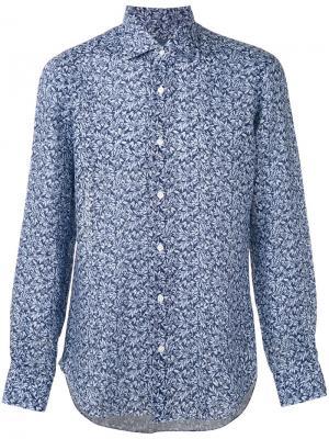 Рубашка с узором Barba. Цвет: синий