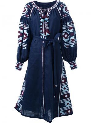 Платье с цветочной вышивкой Vita Kin. Цвет: синий